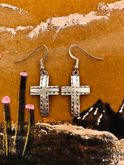 Sterling Silver Convex Cross Earrings