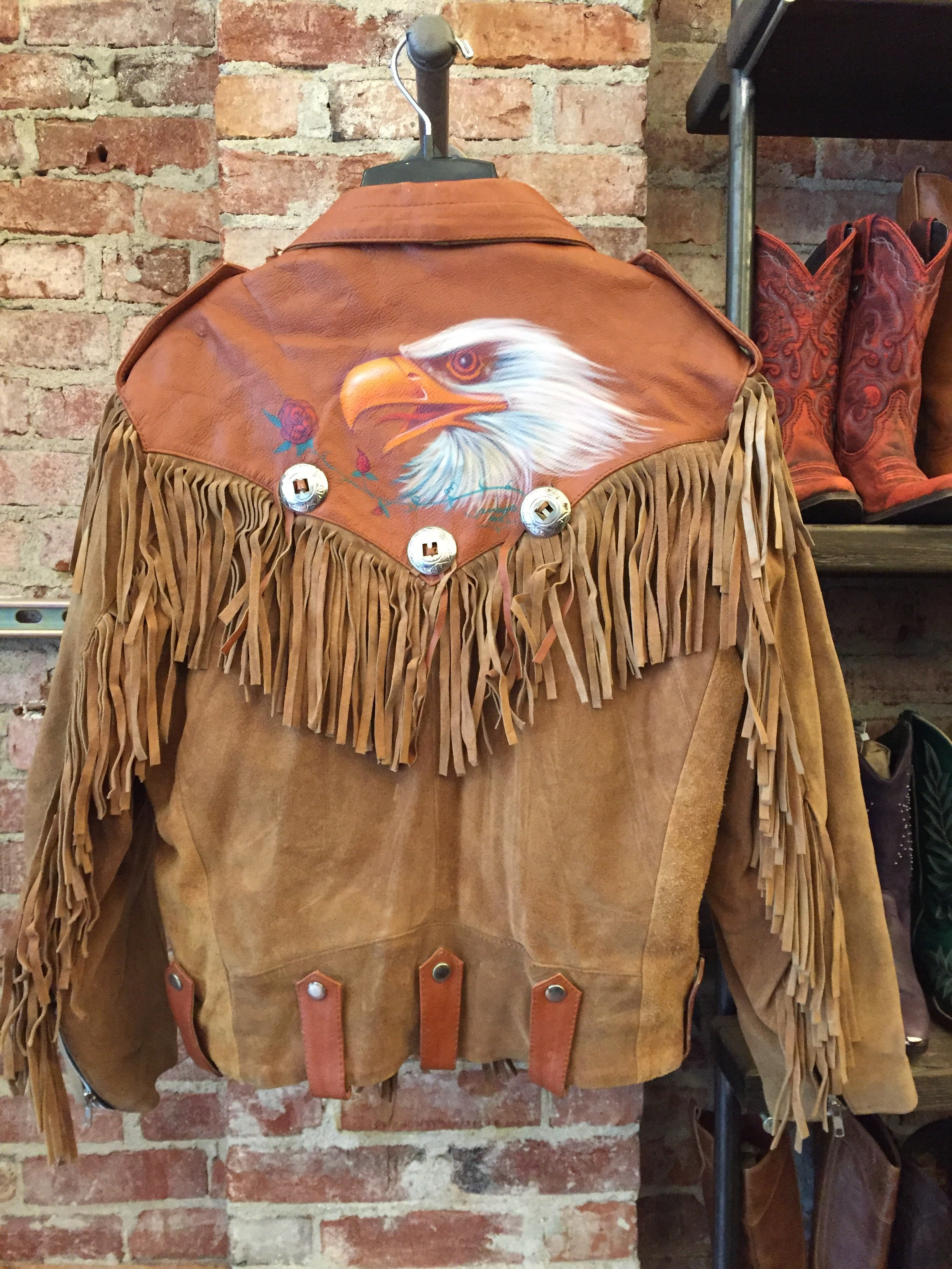 Vintage Leather Fringe Eagle Jacket