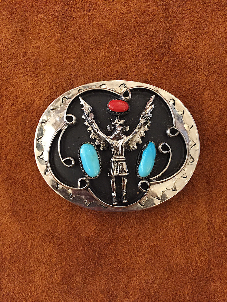 Sterling Silver Red and Turquoise Belt Buckle