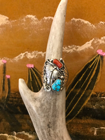Sterling Silver Turquoise and Coral Feather Ring