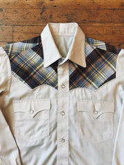 Men's Plaid Yoke Snap Up Sz S