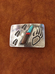 Sterling Silver and Turquoise Bear Claw Belt Buckle