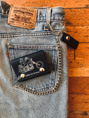 Lonely on the Road Trifold Chain Wallet