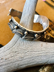 Sterling Silver Feathers Cuff Bracelet