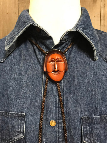 Vintage Wooden Mask Bolo Tie