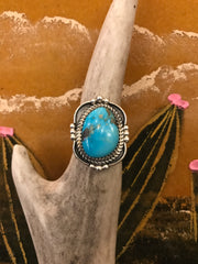 Sterling Silver and Turquoise Folsom Ring