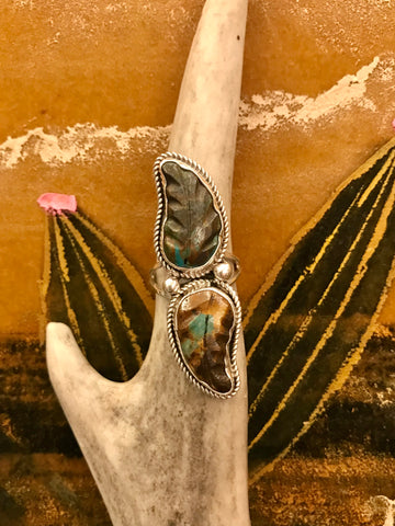 Sterling Silver and Turquoise Two Feathers Ring