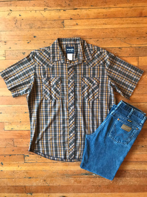 Men's Plaid Snap Up Sz L