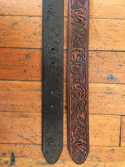 Rose Tooled Leather Belt