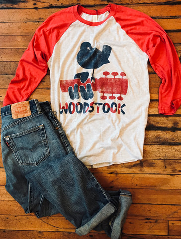 Woodstock Dove & Guitar Raglan Tee