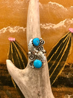 Sterling Silver and Turquoise Feather Ring