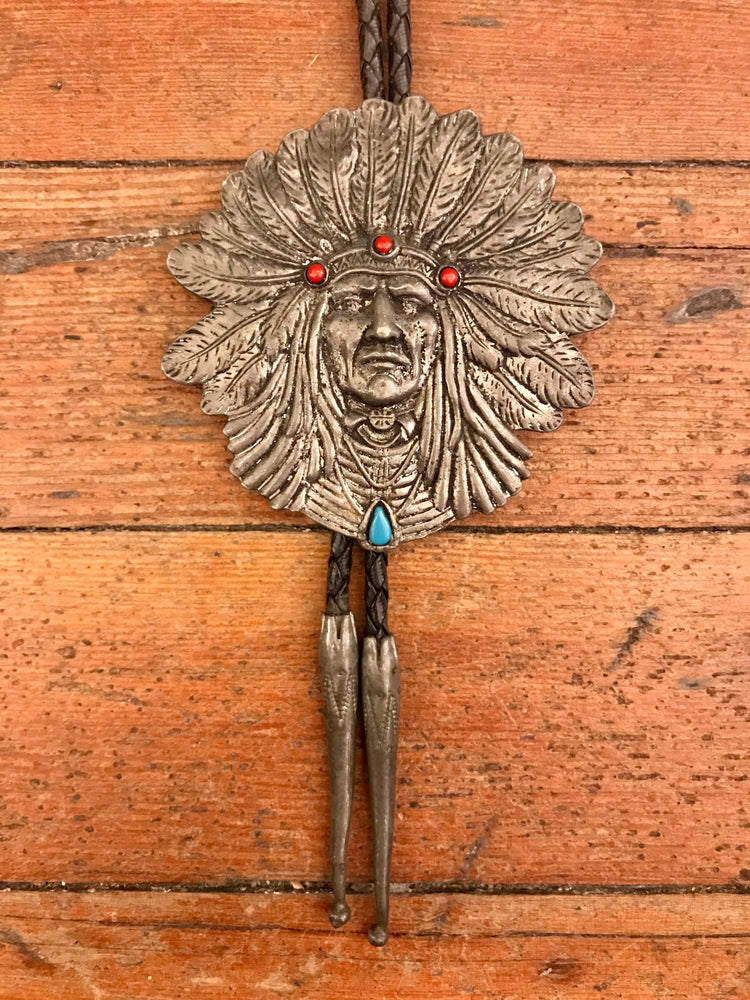 Load image into Gallery viewer, Vintage Native Headdress Bolo Tie