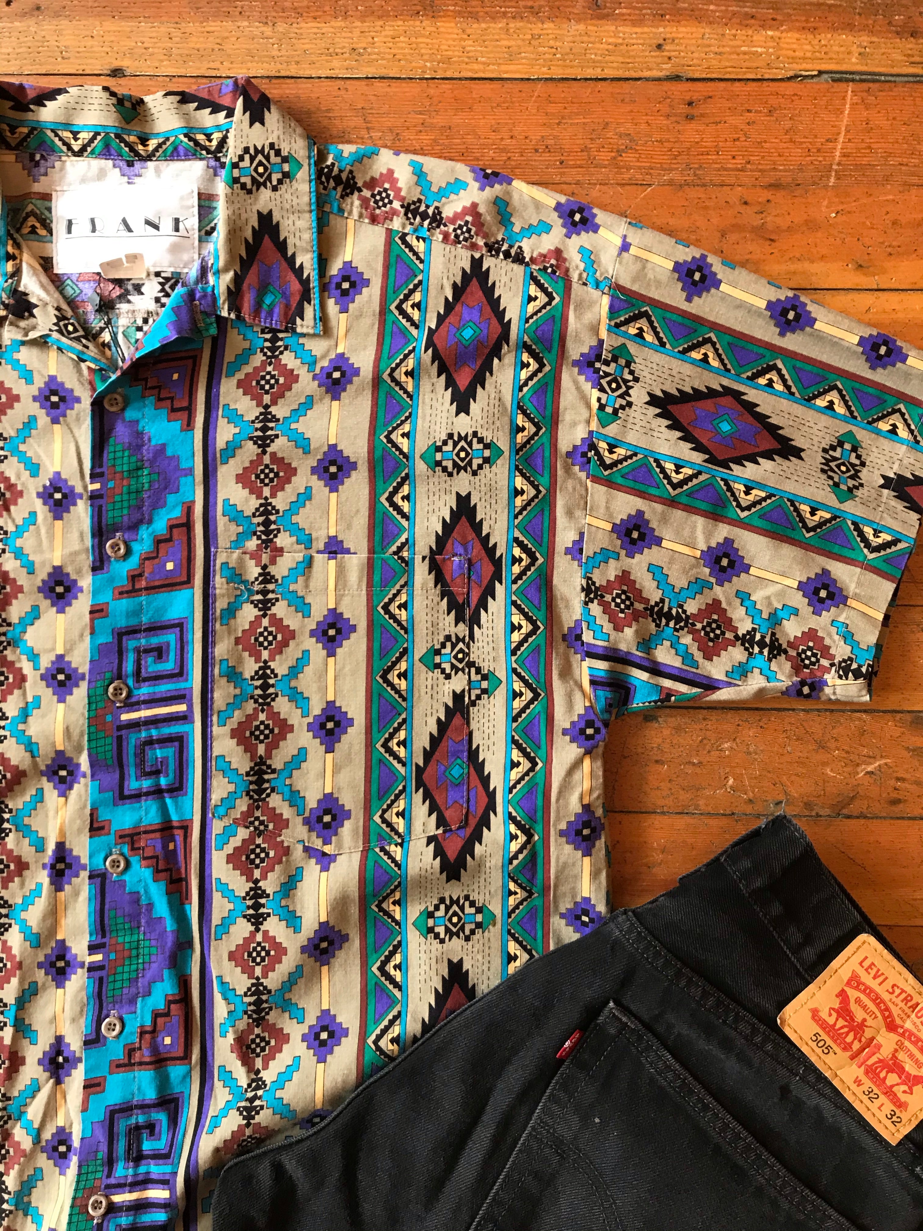 Men's Turquoise Aztec Print Snap Up Sz M