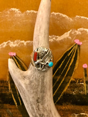 Sterling, Turquoise, and Coral Eagle Ring