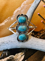 Sterling Silver and Turquoise Droplet Cuff Bracelet