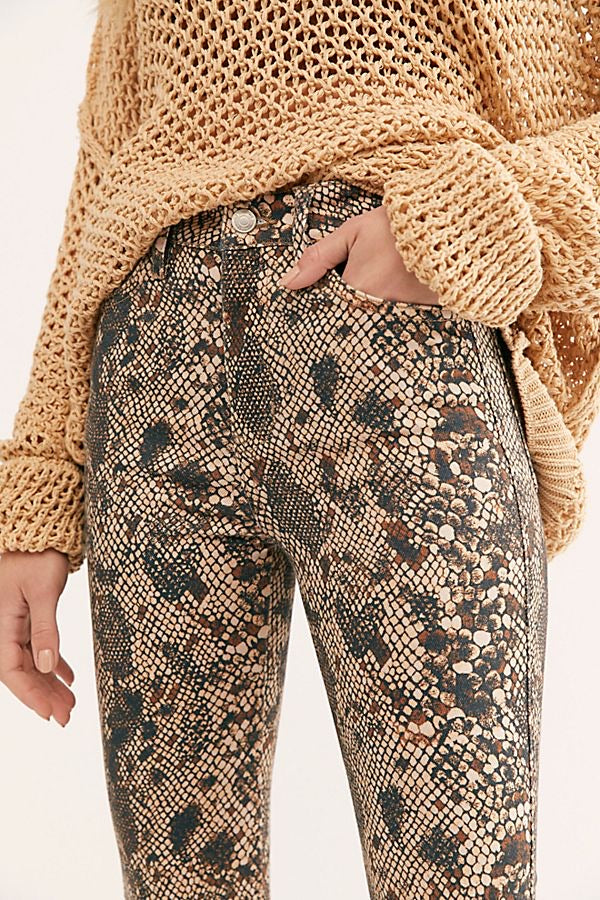 Raw High Rise Snake Print Jegging