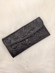 Tooled Floral Leather Wallet
