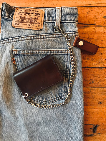 Brown Leather Trifold Chain Wallet