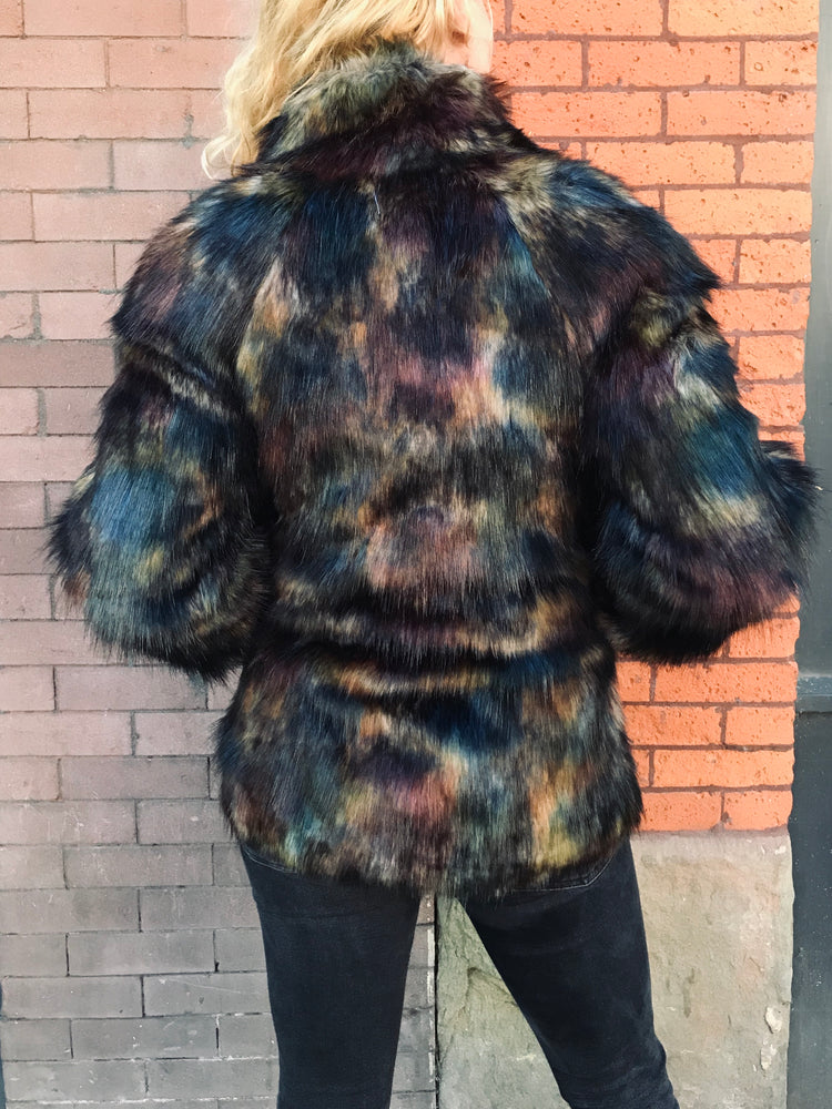 Load image into Gallery viewer, Dark & Stormy Faux Fur Jacket