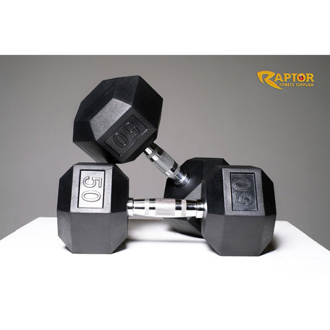 Image of Rubber Hex Dumbbell Set 5 - 50 Lbs