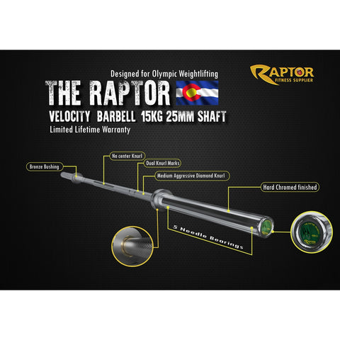 Image of The Raptor Velocity Barbell 15 KG
