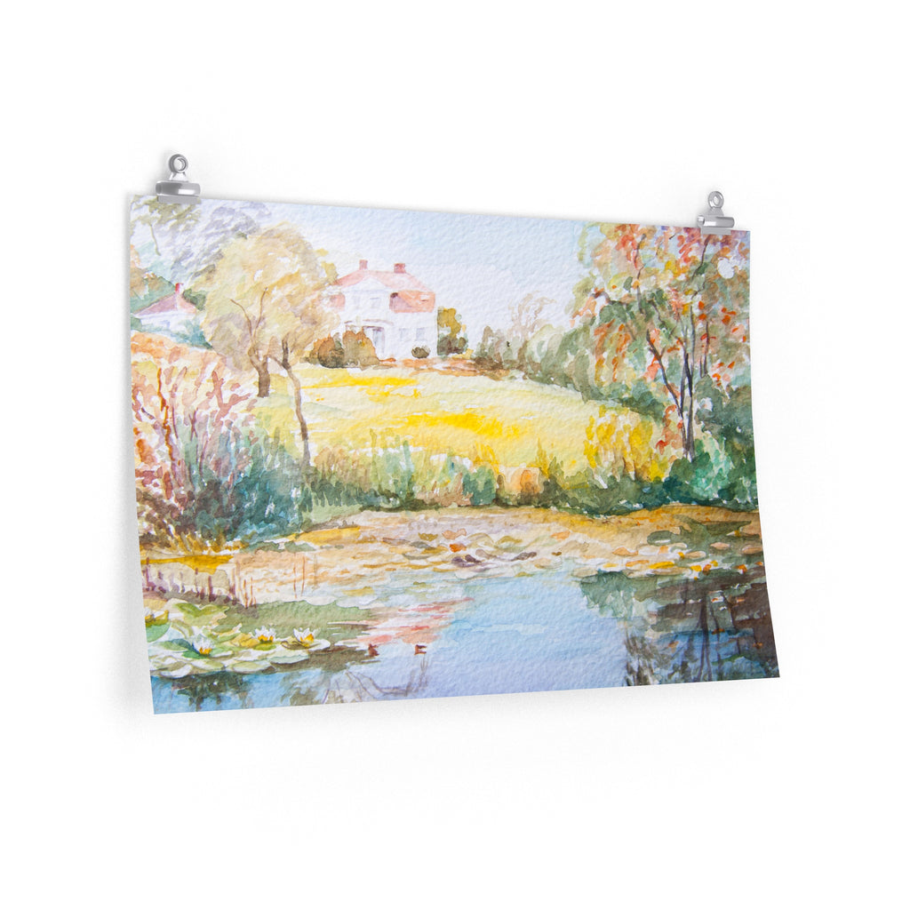 Pond of Water lilies with house - Poster