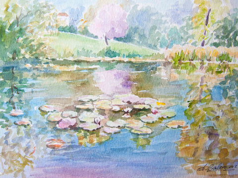 Pond of Water lilies - Stretched canvas