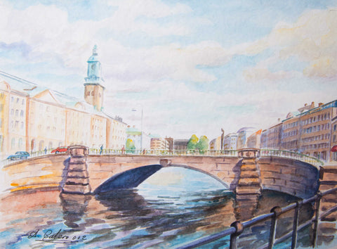 Great canal along the German church, Gothenburg - Stretched canvas