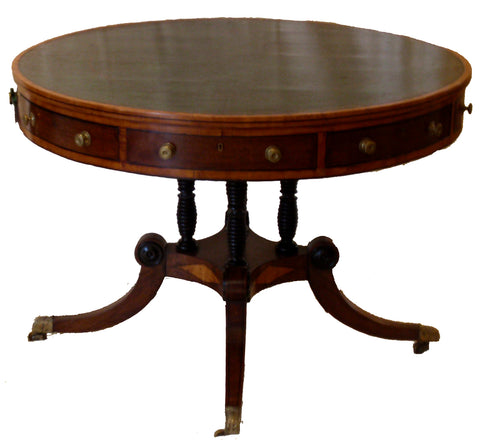 Regency Satinwood and Mahogany Library Table