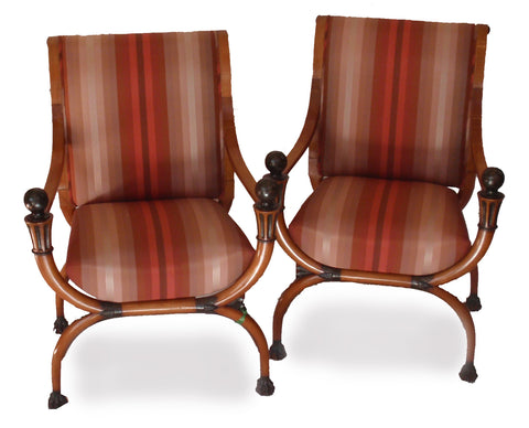 Pair of Directoire Painted and Parcel Gilt Fruitwood Curule-Form Armchairs