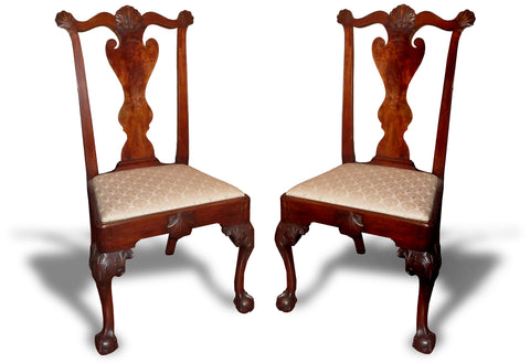 A Fine Pair of Chippendale Carved and Figured Mahogany Side Chairs