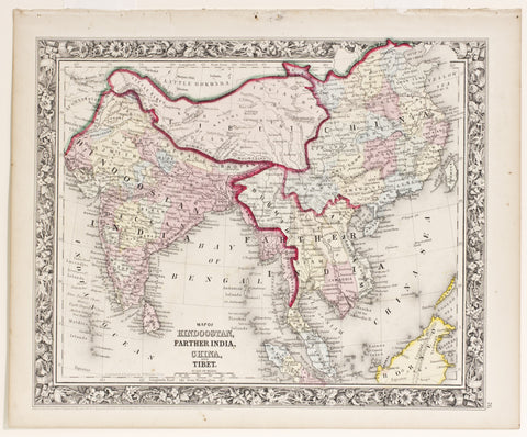Map of Hindoostan, Father India, China, and Tibet