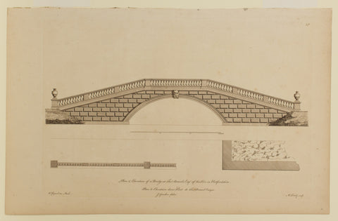 Plan of Elevation of a Bridge at Tho Brand Esq of the Hoo in Hertfordshire