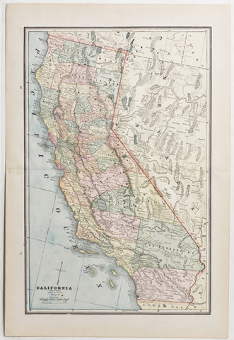 Map of California, 1889