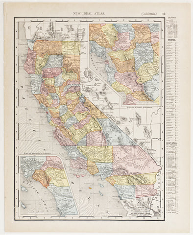 California with insets of Southern & Central Regions (1911)