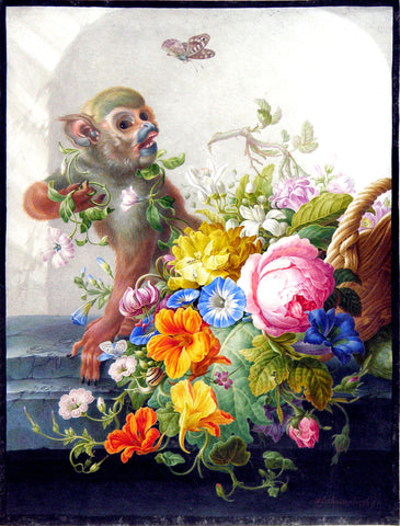 Still-Life With A Monkey And A Basket Of Flowers On A Stone Ledge