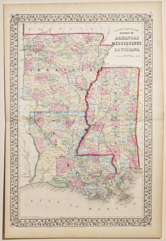 County Map of the State of Arkansas, Mississippi & Louisiana