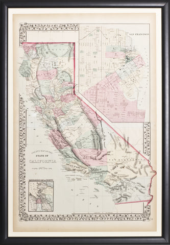 Map of California with inset of the City of San Francisco and Greater Bay Region