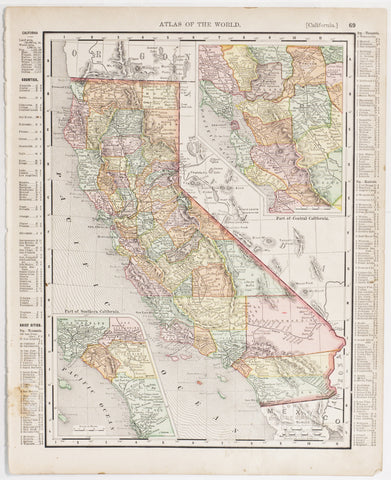 California with insets of Southern & Central Regions (1899)