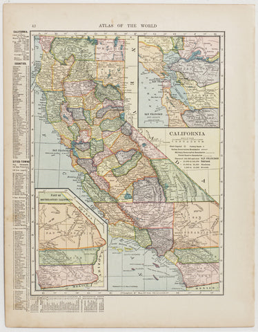 California with insets of Southeastern Region & San Francisco Bay