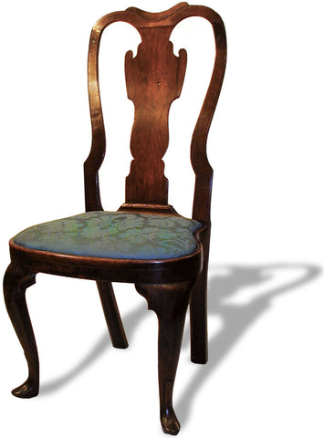 Queen Anne Walnut Side Chair - Dipped Crest