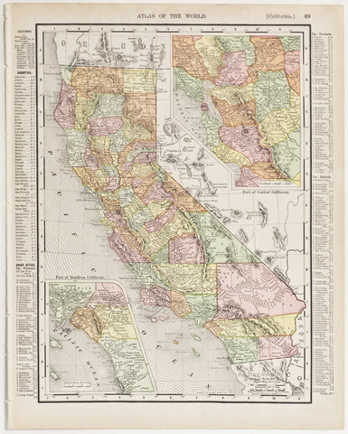 California with insets of Southern & Central Regions (1909)