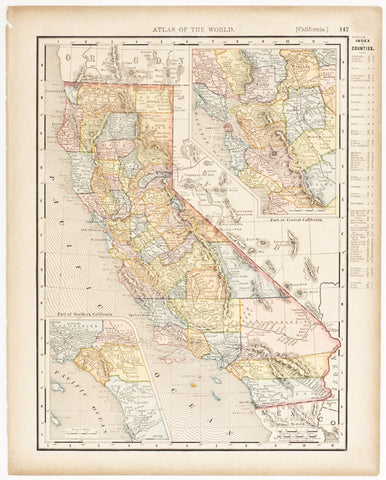 California with insets of Southern & Central Regions (1894)