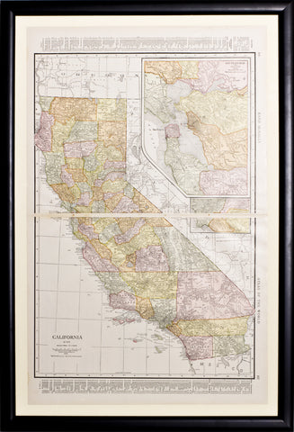 Map of California with insets of San Francisco Bay Region & Los Angeles Region, 1917