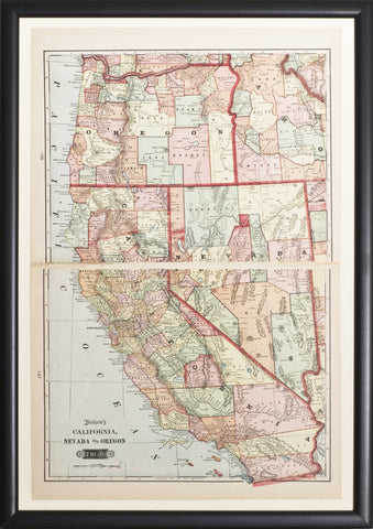 Map of California, Nevada & Oregon