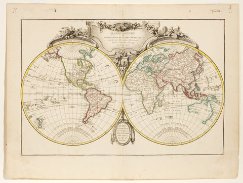 Mappe Monde ou Description Du Globe Terrestre assujettie aux Observations Astronomiques Paris