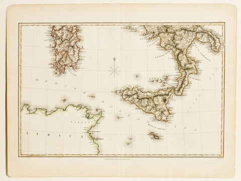 Map of Naples, Sicily, Africa, and Sardinia