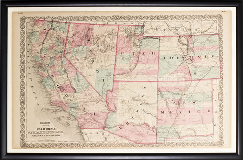 Map of California, Nevada, Utah, Colorado, Arizona & New Mexico