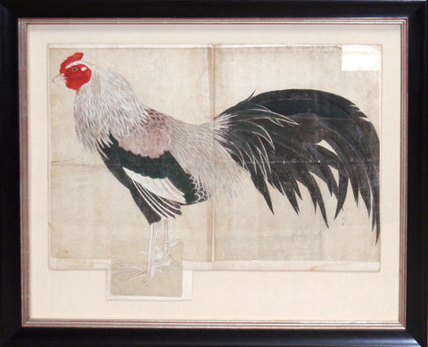 Painting of a long-tailed rooster
