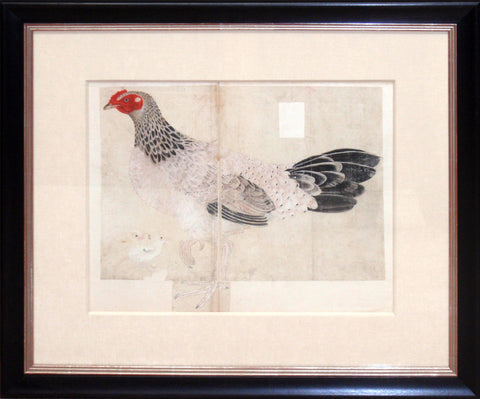Painting of a hen with pair of chicks